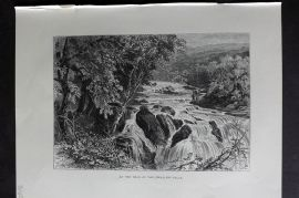 Picturesque Europe 1870s Antique Print. At the Head of the Swallow Falls